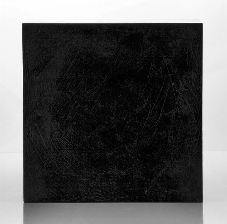 "Kevin B. Flynn, Suprematist, Malevich, Black Square 0.1, cast crystal sculpture, cast glass sculpture, 12"" x 12"" x 4"", 2016"