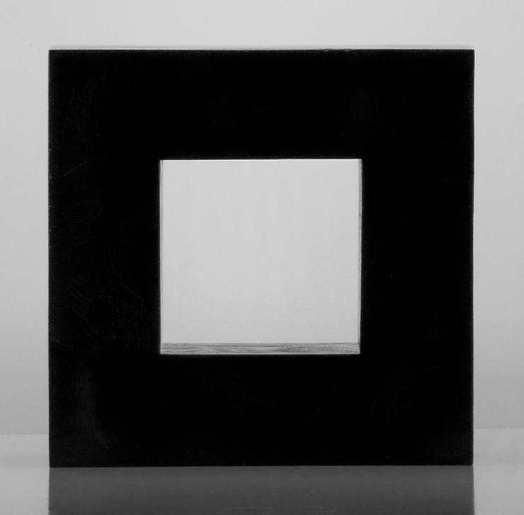 "Kevin B. Flynn, Malevich, Suprematist, Black Square No. 0, casy glass sculpture, cast crystal sculpture, 12"" x 12"" x 4"", 2016"
