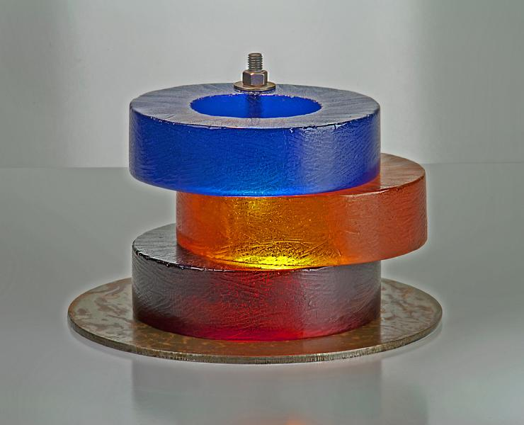 "Kevin B. Flynn, Constructivist, Rodchenko, Pure Red Color Ring, Pure Blue Color Ring, Pure Yellow Ring, cast glass sculpture, cast crystal sculpture, 7"" x 12"" round, 2015"