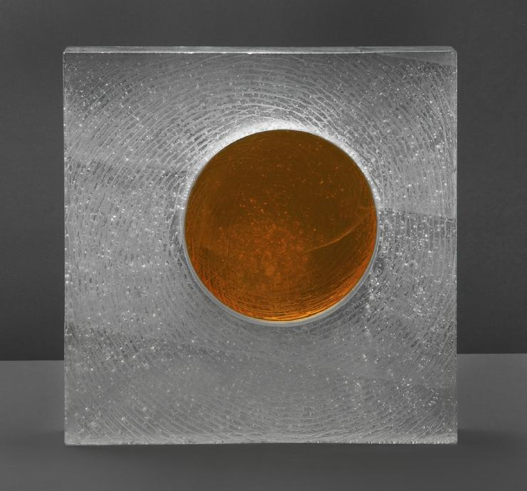 "Kevin B. Flynn, Suprematist, Malevich, cast glass sculpture, cast crystal sculpture, Amber Circle Inside Empty Square Space, 12"" x 12"" x 4"", 2016"