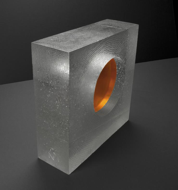 "Kevin B. Flynn, Malevich, Suprematist, cast glass sculpture, cast crystal sculpture, Amber Circle Inside Empty Square Space, 12"" x 12"" x 4"", 2016"